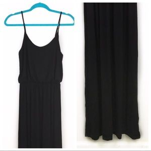 Lush Black Adjustable Strap Blouson Maxi Dress